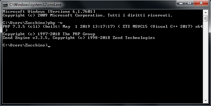 Versione PHP dalla shell di Windows 7