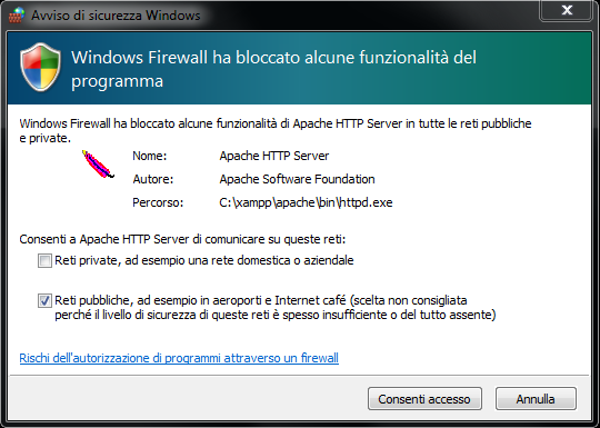 Blocco Apache firewall Windows